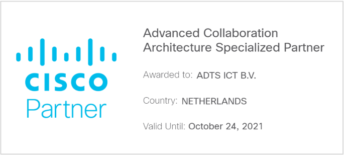 Advanced Collaboration Architecture Specialized Partner certificering